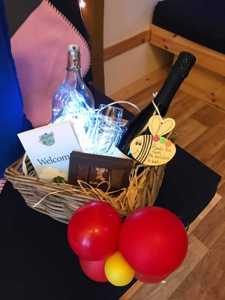A gift basket of wine and chocolates