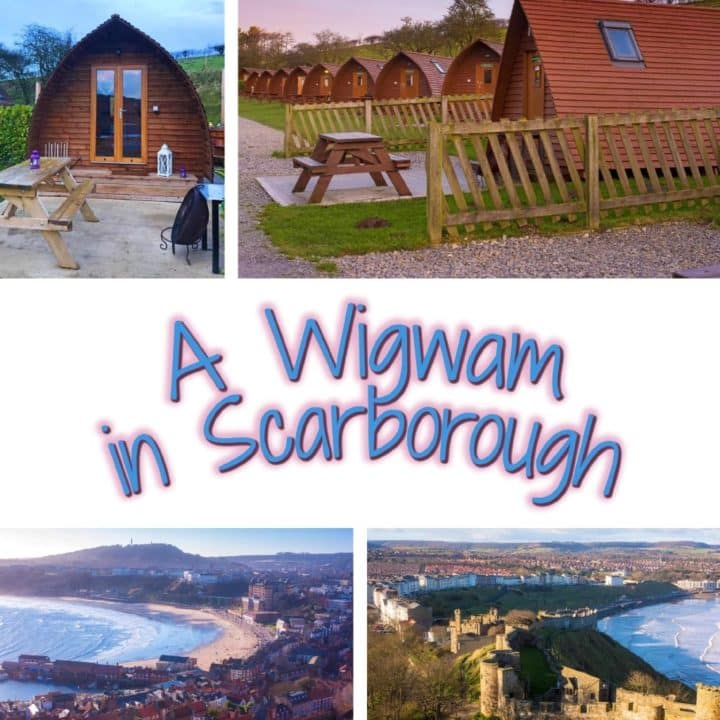 "Four photo collage of wigwams and Scarborough sites with a text overlay saying ""A Wigwam in Scarborough"""