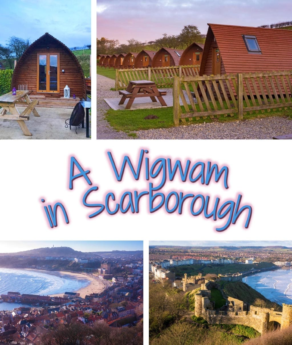 """Four photo collage of wigwams and Scarborough sites with a text overlay saying """"A Wigwam in Scarborough"""""""