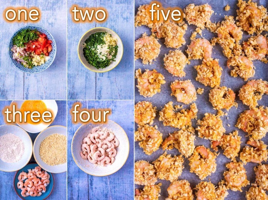 Step by step process of how to make Crispy Prawn Tacos