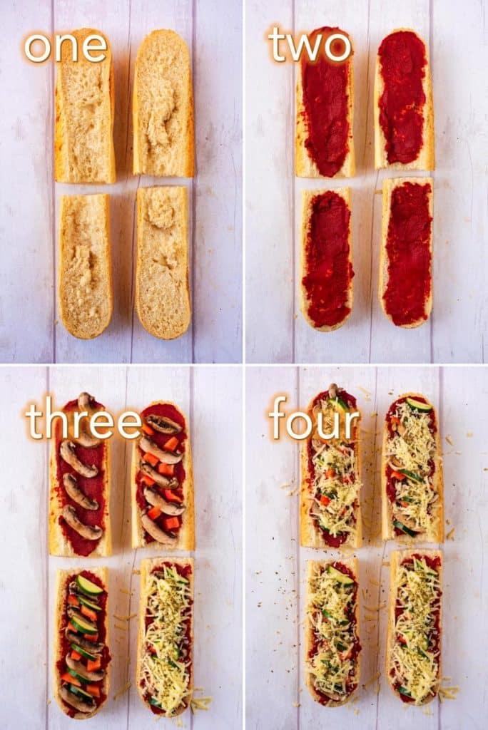 Step by step process to make French Bread Pizza