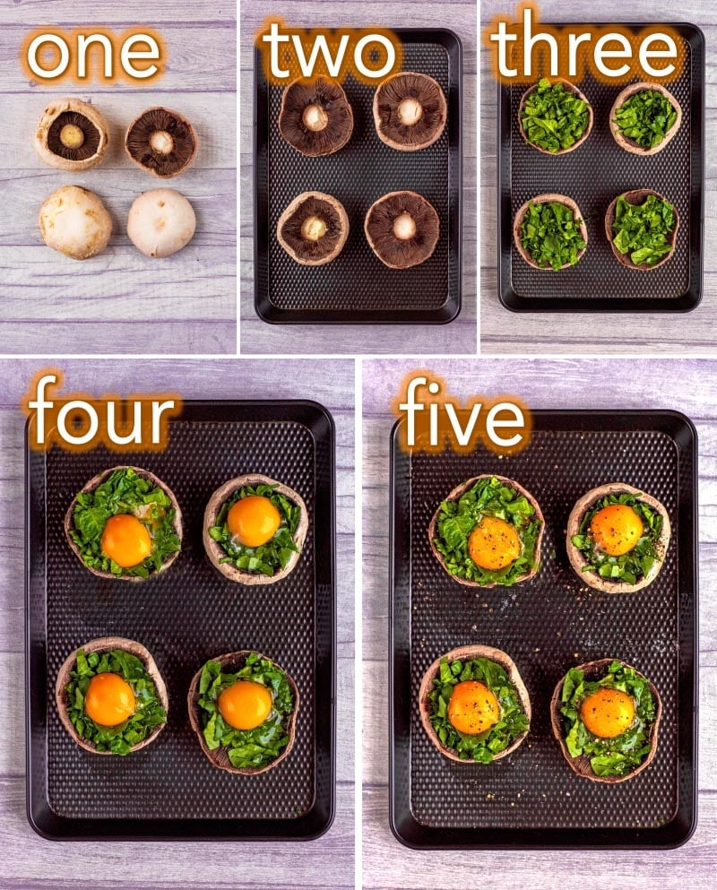 Step by step process of how to make eggs baked in mushrooms