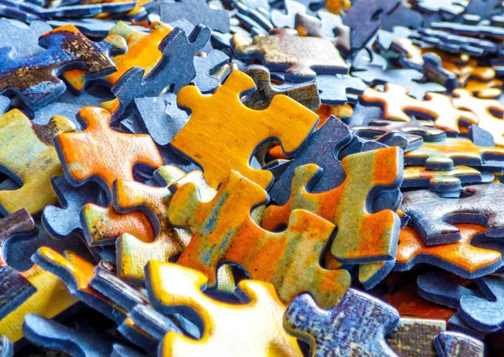 Jigsaw Puzzle pieces all jumbled up