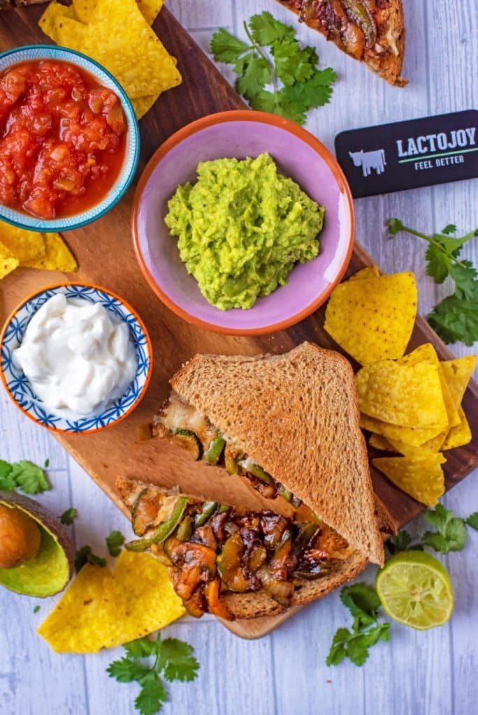 Vegetable Fajita Grilled Cheese Sandwich with Lactojoy box