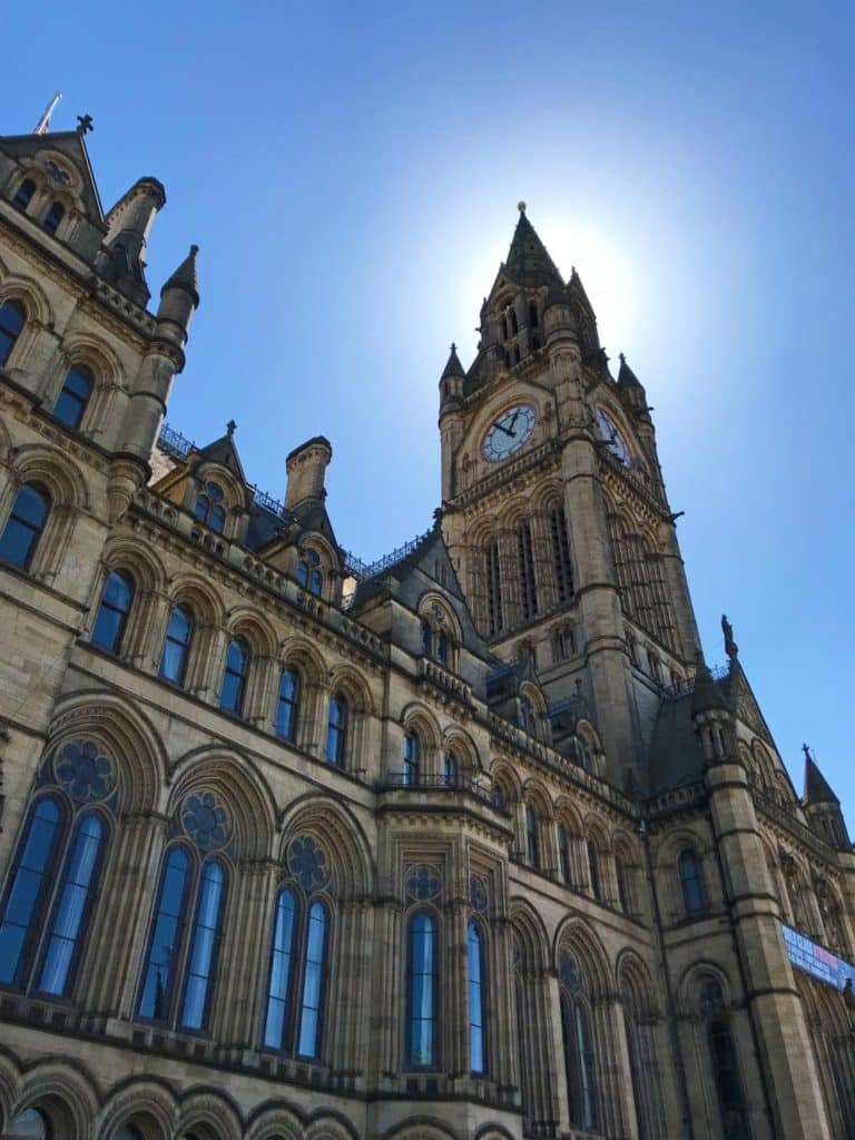Looking up at Manchester Town Hall clock tower