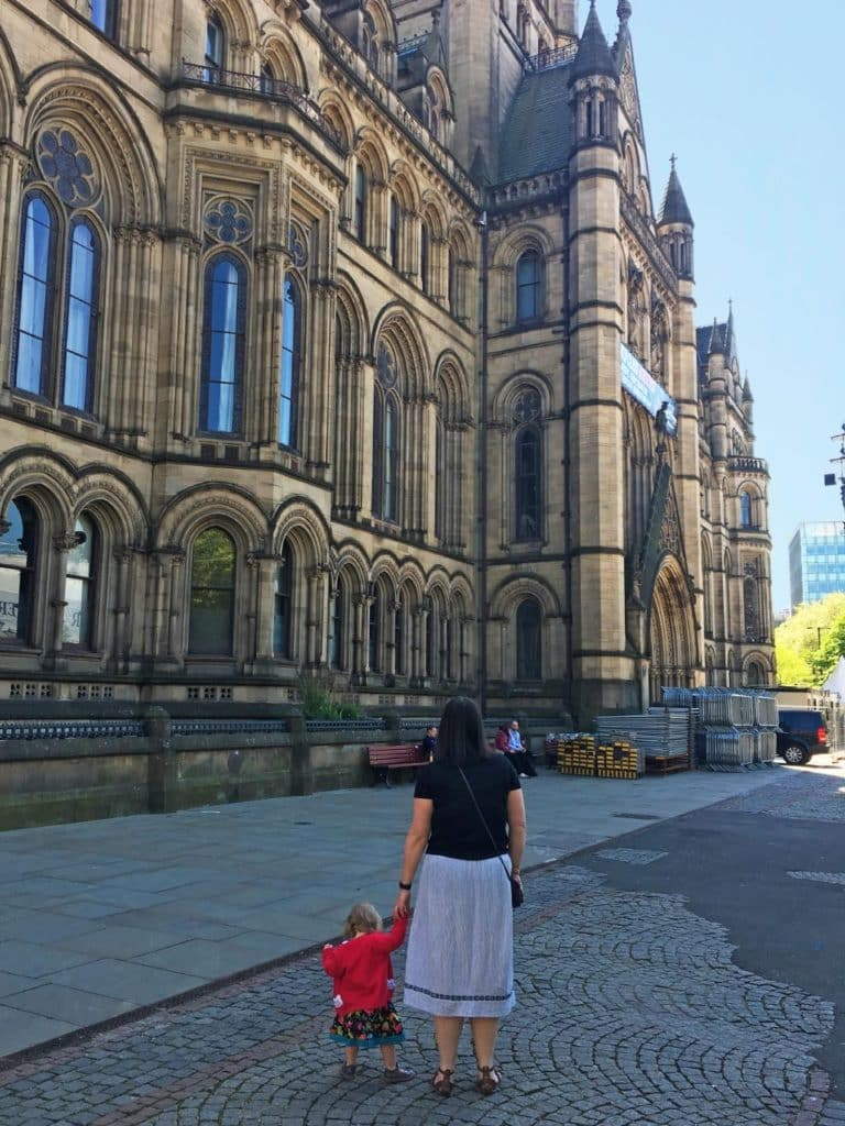 Dannii and Avery outside Manchester Town Hall