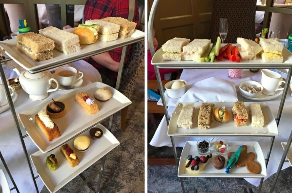 Afternoon tea sandwiches and cakes