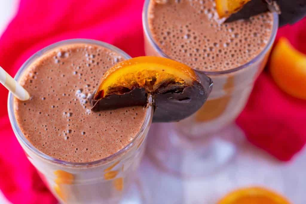 Horizontl shot of Chocolate Orange Protein Smoothie