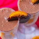 Horizontal shot of Chocolate Orange Protein Smoothie
