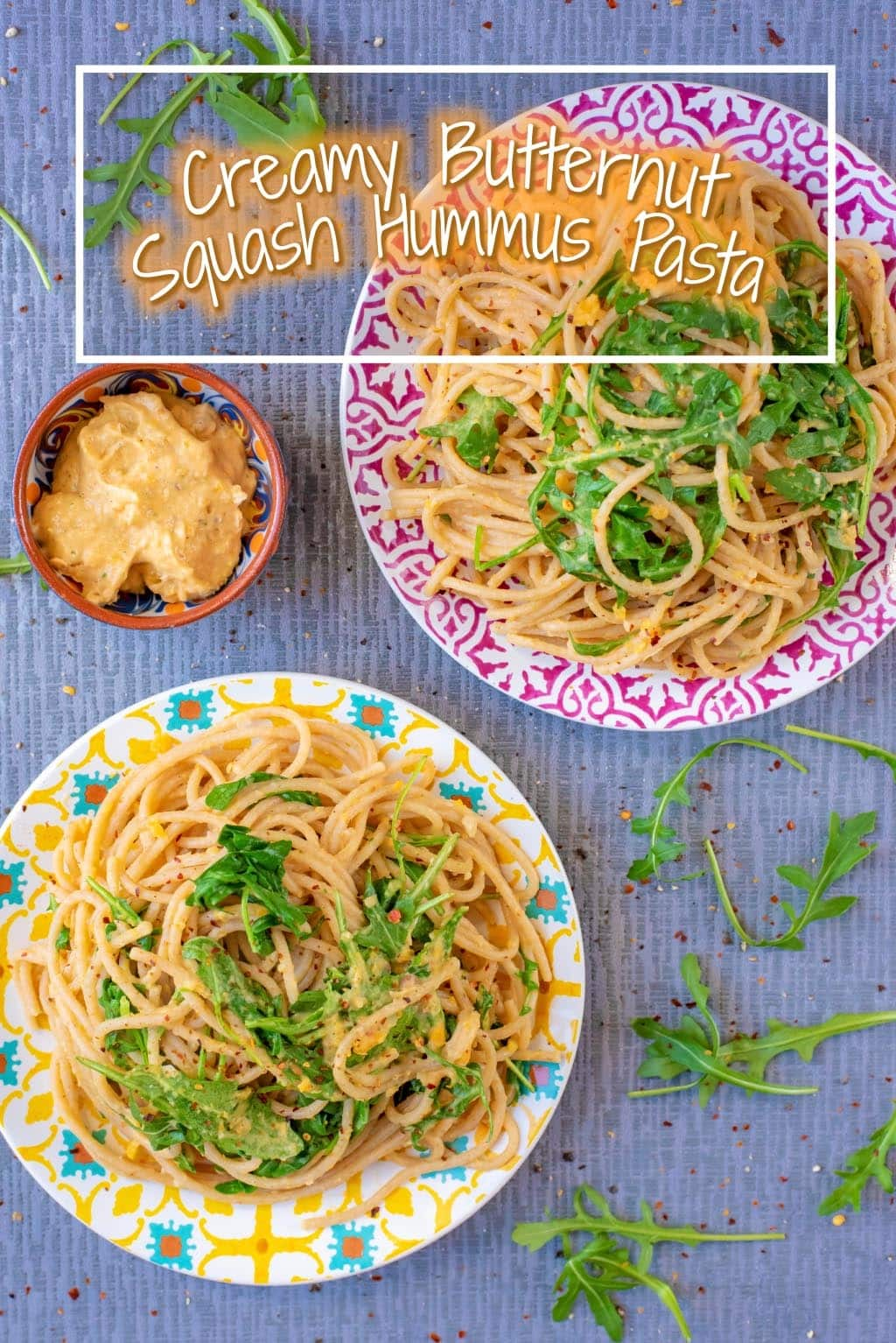 Do you love hummus and want a quick and easy dinner? This Creamy Butternut Squash Hummus Pasta is for you! Make a batch of our Roasted Butternut Squash Hummus and then use some of the leftovers to stir in to pasta with some greens for a healthy meal under 15 minutes. Trust me on this one - hummus makes an incredible pasta sauce. #hummus #butternutsquash #pastasauce