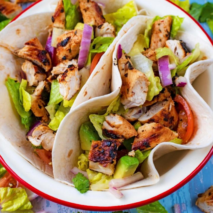 Two Grilled Chicken Tacos in a serving bowl