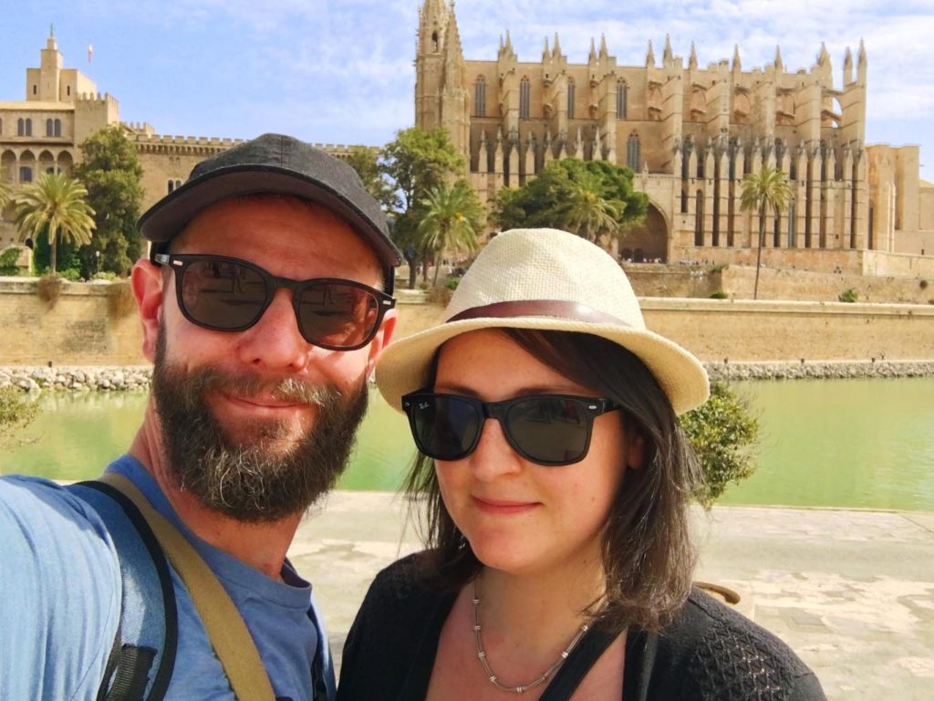 Dave and Dannii in front of Palma Cathedral