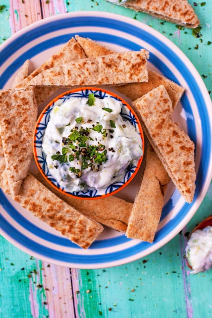 Top down shot of Tzatziki
