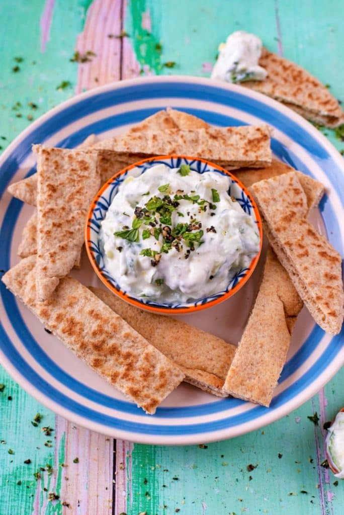 Angled shot of Tzatziki