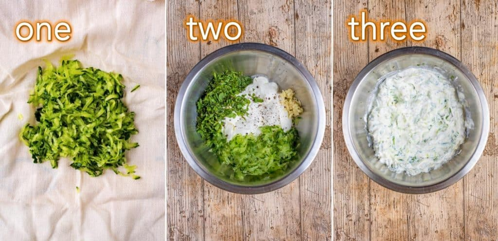 Step by step process of How To Make Tzatziki