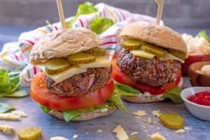 Horizontal shot of Hidden Vegetable Beef Burgers