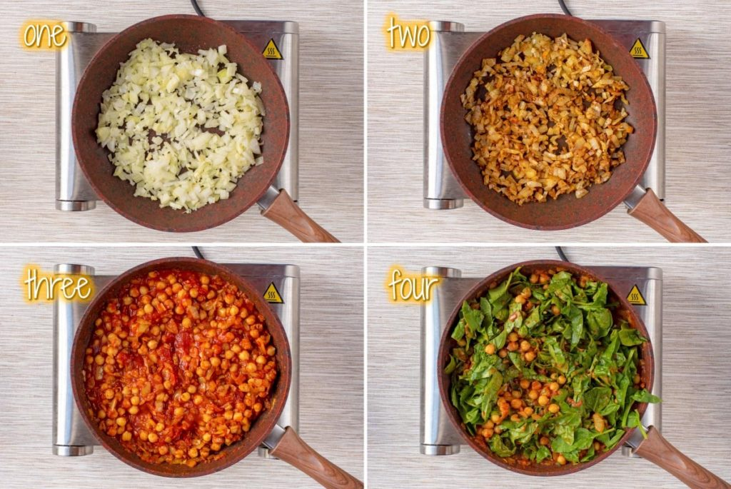 4 shots of a frying pan showing the process of how to make chickpea and spinach curry