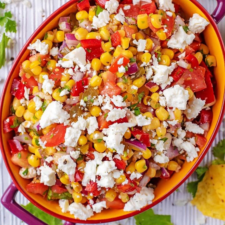 Sweetcorn salsa in an oval serving dish