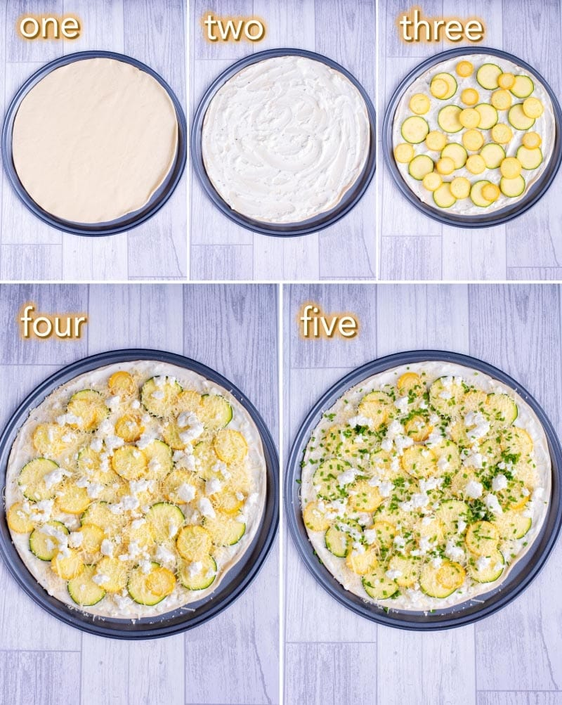 Five steps to making a Courgette and Lemon Pizza