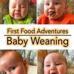A collage of four baby faces covered in food