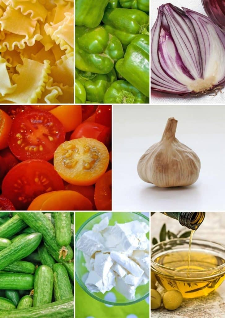 A collage of ingredients used for Greek Pasta Salad