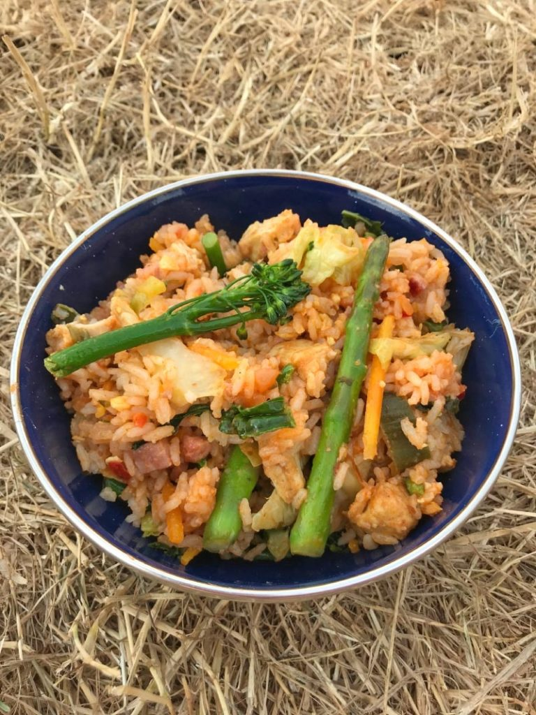 A blue bowl of rice and vegetables