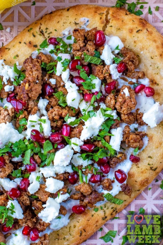 Spiced lamb and feta cheese on a flatbread