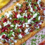 A lamb and feta flatbread pizza