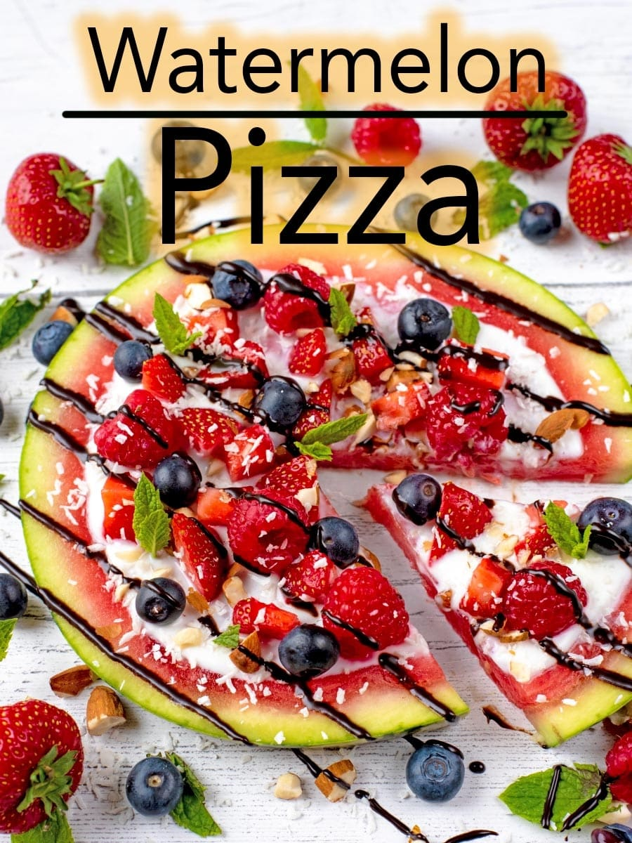 This watermelon fruit pizza is basically a giant slice of summer. Loaded with colourful berries, some creamy yoghurt, crunchy nuts and a drizzle of chocolate, it's an easy dessert to feed a crowd on a hot day. #pizza #fruitpizza #watermelon #waterpelonpizza #dessertpizza