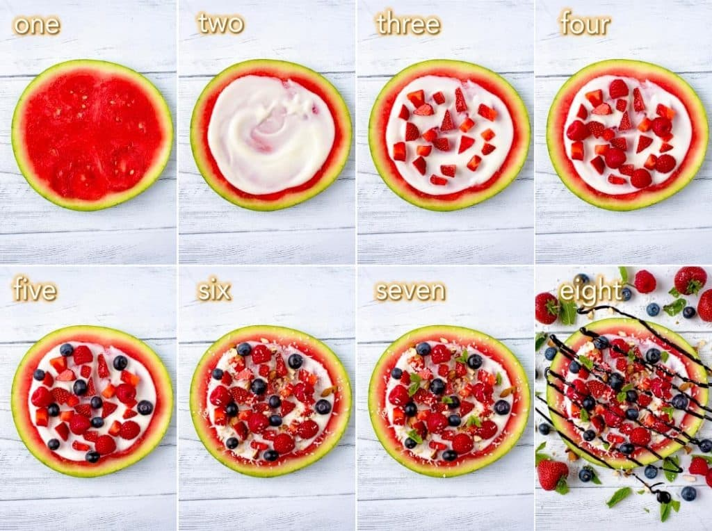Eight steps to make a watermelon fruit pizza