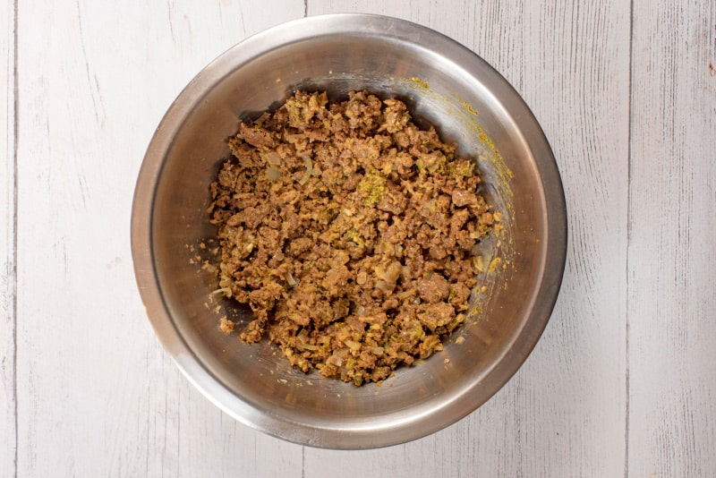 meat free burger mix in a mixing bowl