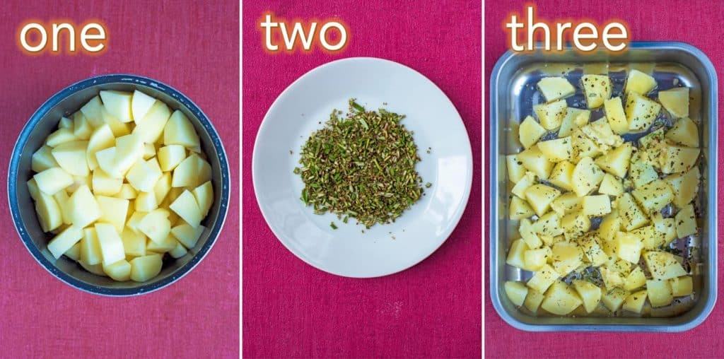 Step by step process of how to make Garlic and Rosemary Roasted Potatoes