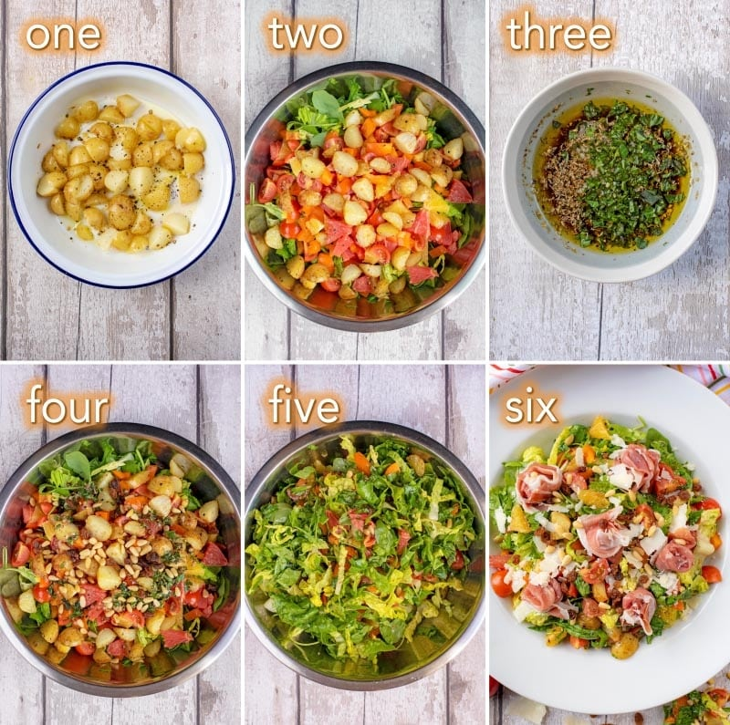Step by step process of how to make Italian Chopped Salad with Parma Ham