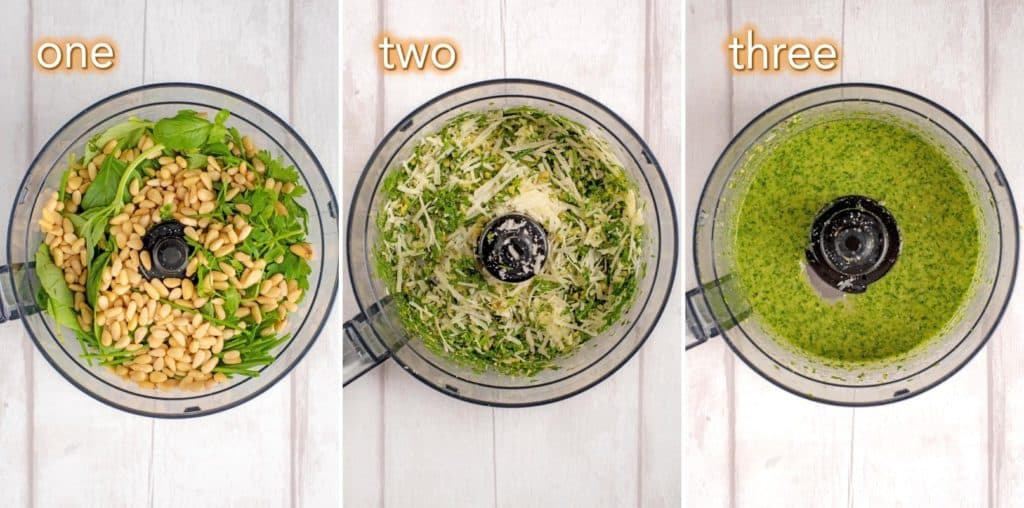 Step by step process to making Mixed Herb Pesto