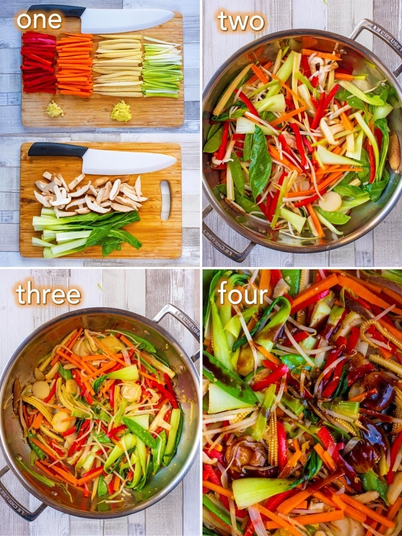 Step by step process shots to make an Easy Vegetable Stir Fry