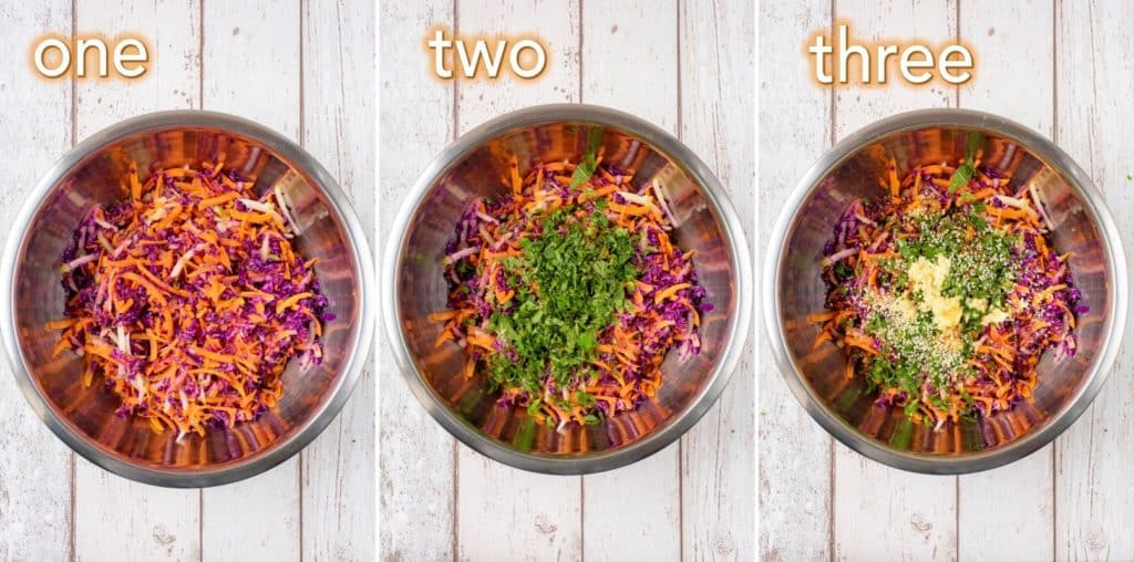 Step by step process of how to make Crunchy Asian Slaw