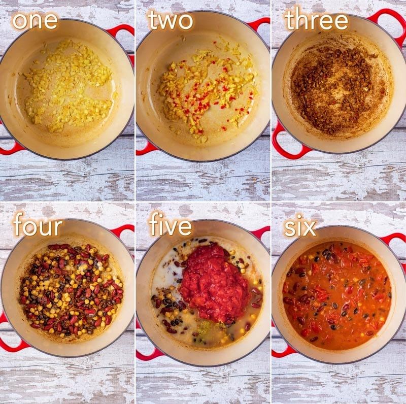 Step by step process of how to make Easy Three Bean Curry