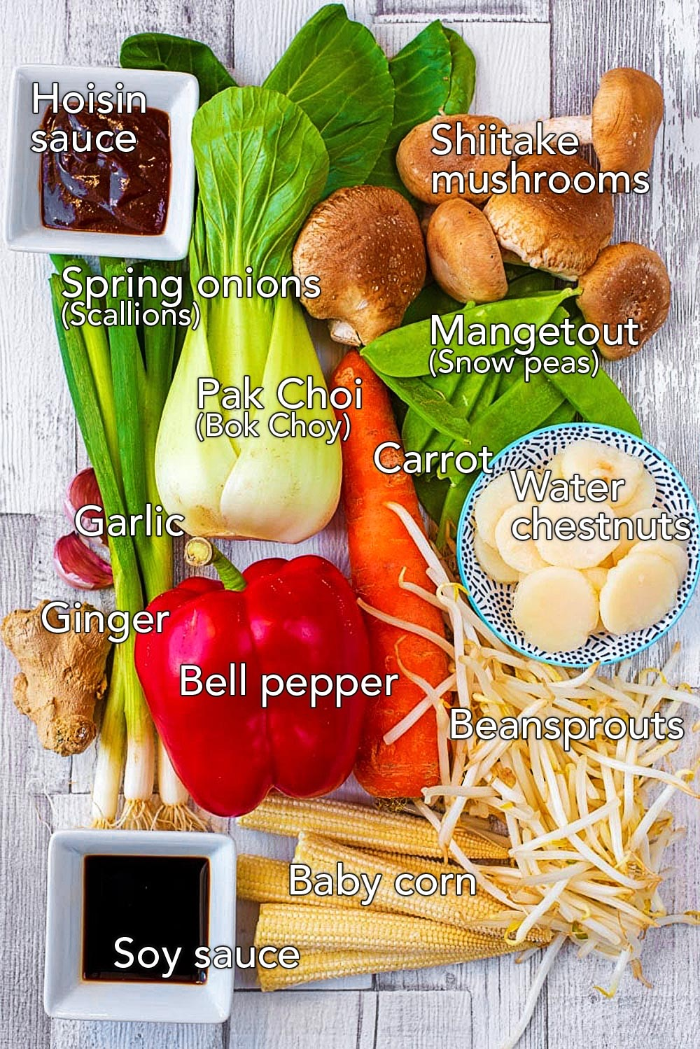 A selection of vegetables spread across a wooden surface