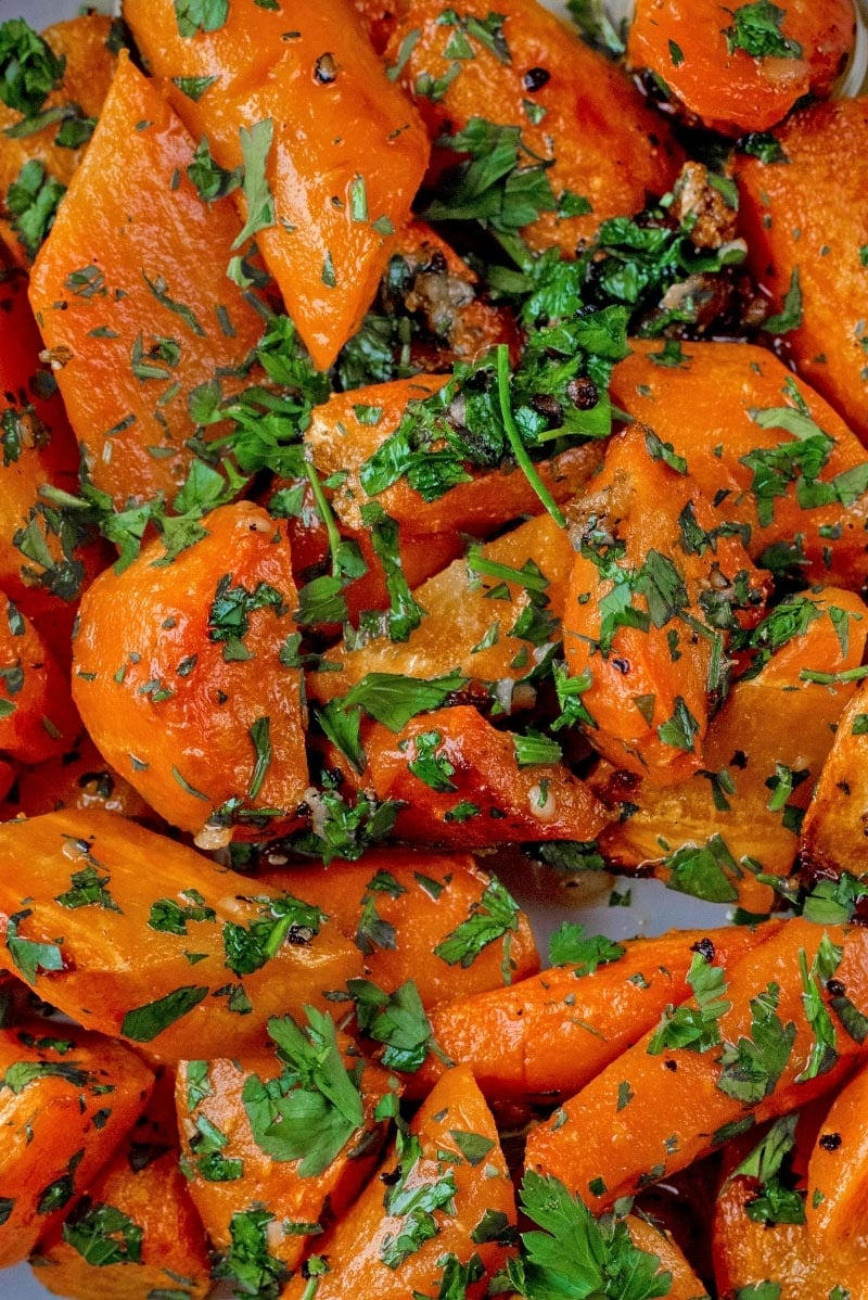 Roasted Carrots with chopped parsley sprinkled on top.