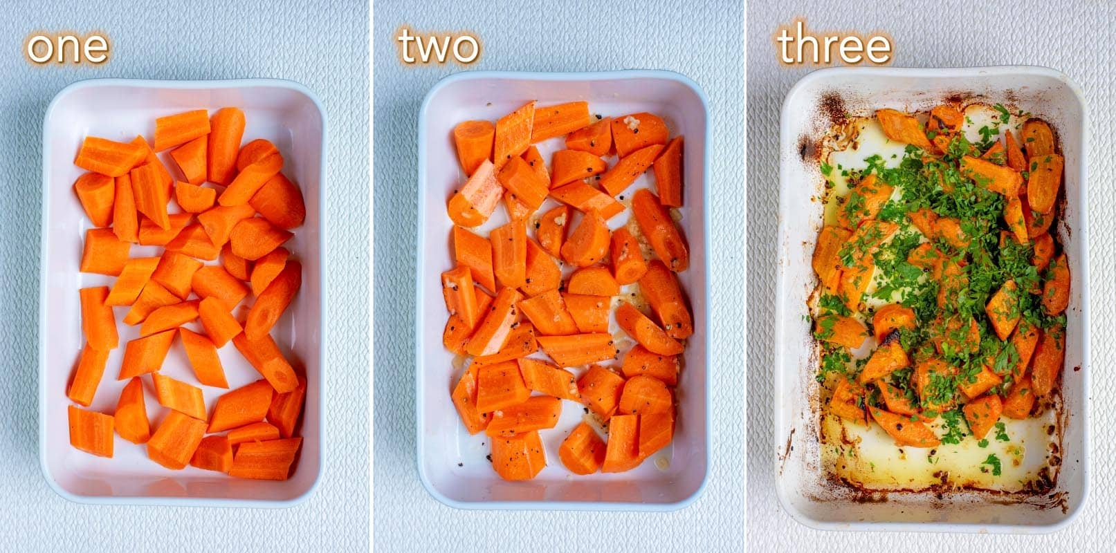Three shot collage of roasted carrots in a baking dish.