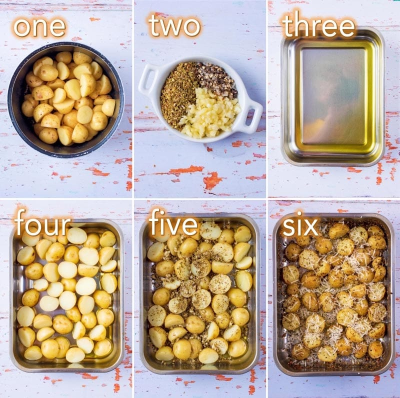 Step by step process of how to make Italian Roasted Potatoes