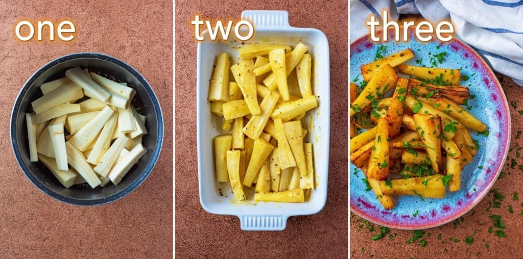 Step by step process of how to make Mustard and Honey Roasted Parsnips