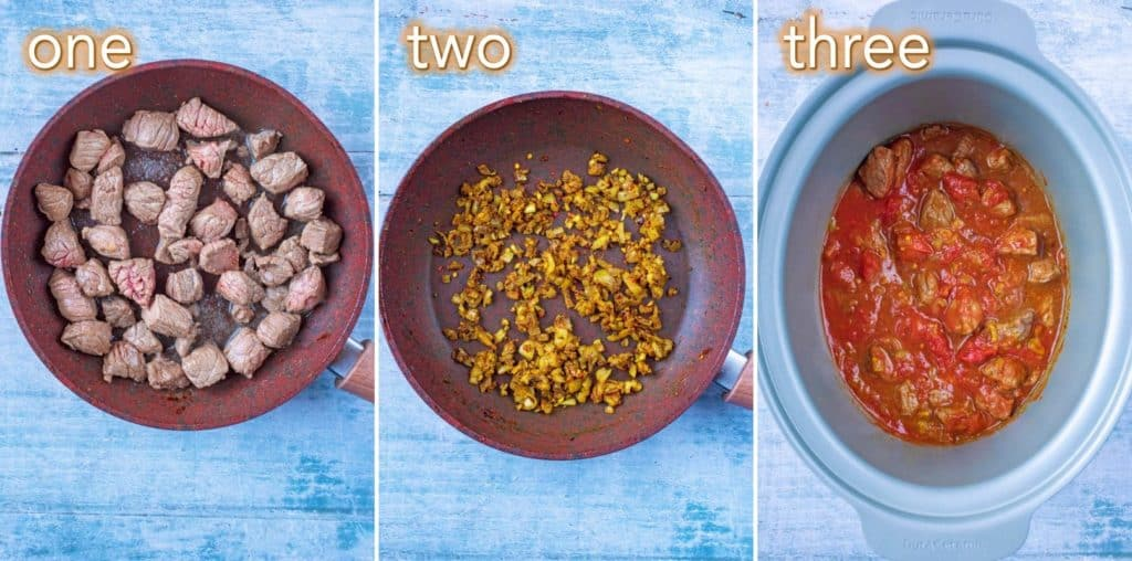 Step by step process of how to make Slow Cooker Beef Curry