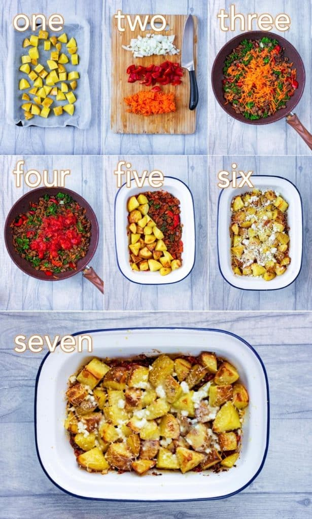 Step by step process to make Mexican Beef and Potato Bake
