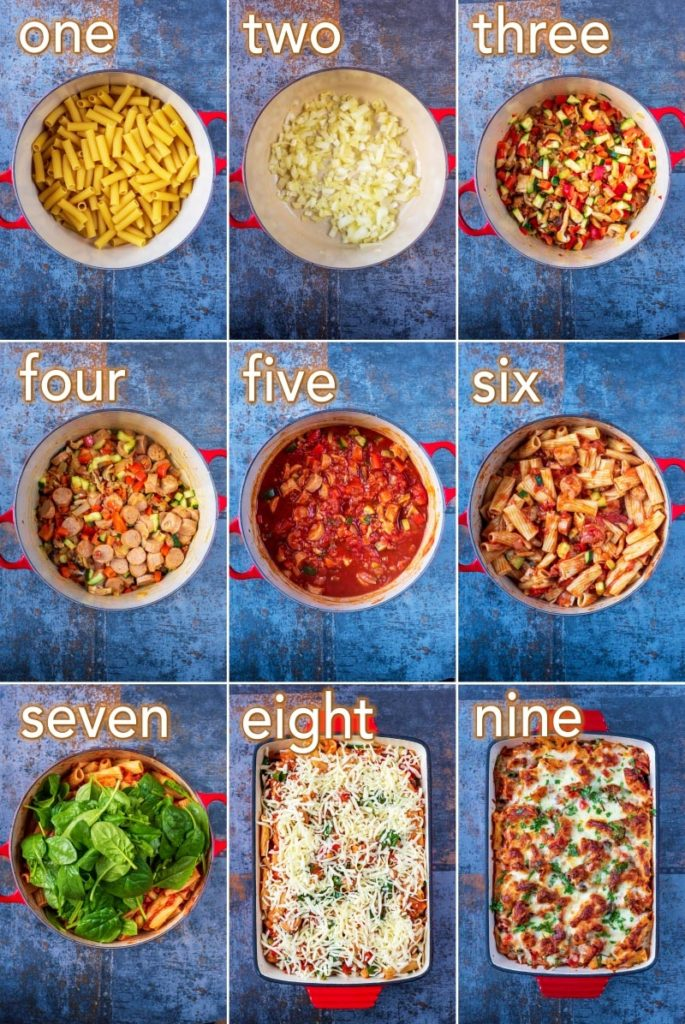 Step by step process of how to make Sausage Pasta Bake