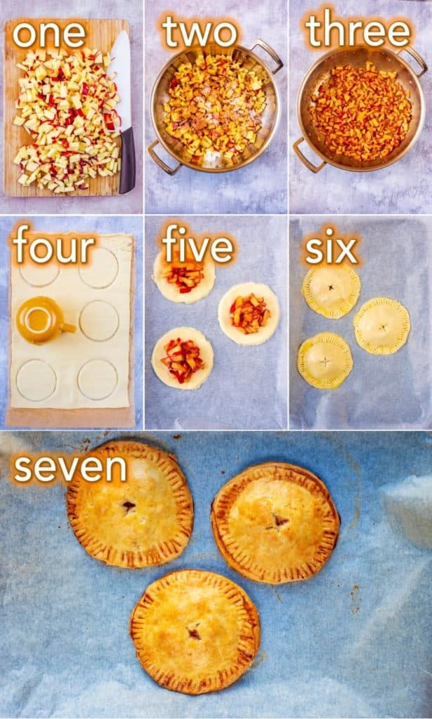 Step by step process shots of how to make Apple Hand Pies
