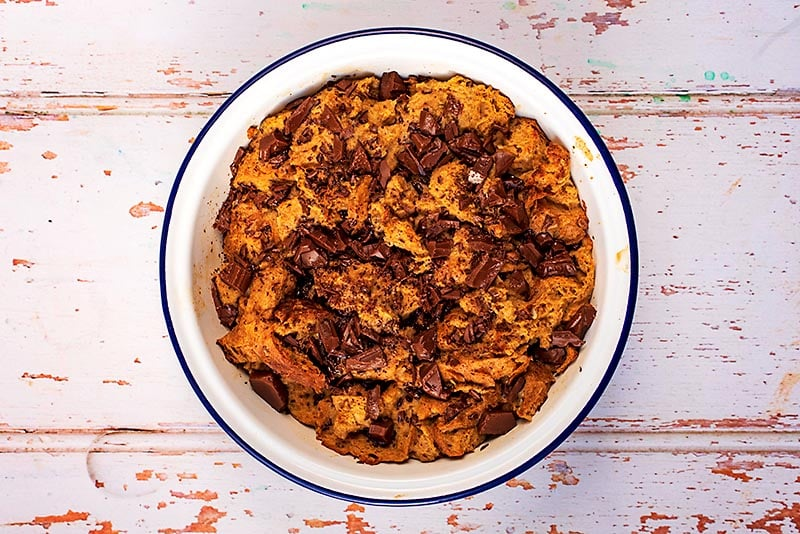 Chocolate Bread Pudding in a round baking dish