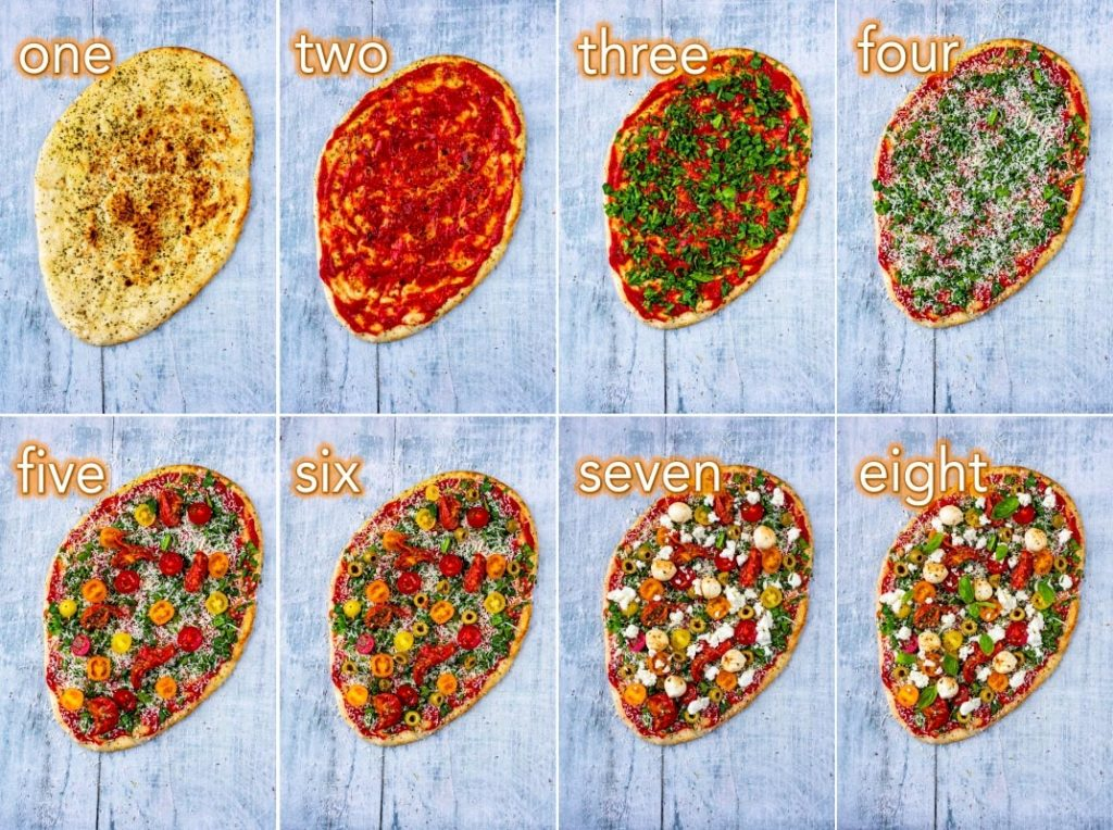 Eight steps to making Naan Pizza