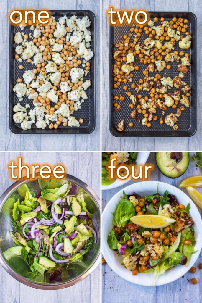 Four steps to making a Roasted Cauliflower Salad