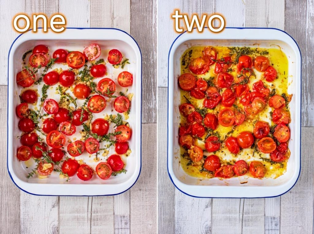 Process steps of how to make Roasted Cherry Tomatoes